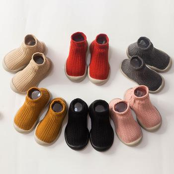 Buty dziecięce z gumową podeszwą Baby girl buty z podeszwą Baby antypoślizgowe buty z obrazkami baby toddler gumowe podeszwy skarpety tanie i dobre opinie Z dzianiny tkaniny Wiosna jesień Slip-on Stałe Unisex RUBBER Pasuje prawda na wymiar weź swój normalny rozmiar
