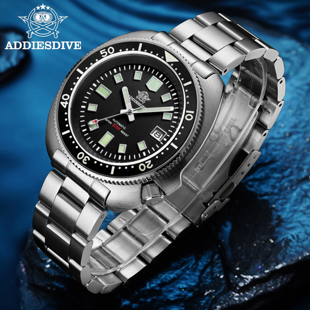 1970 Abalone Dive Watch 200m Sapphire crystal calendar NH35 Automatic Mechanical Steel diving Men's watch 5
