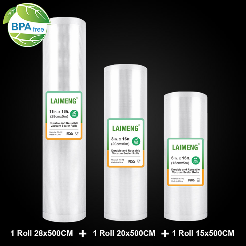 LAIMENG Vacuum Packaging Rolls Vacuum Sealer Bags Storage Bags Food Bag For Vacuum Food Packing Machine Sous Vide 3 Rolls R133