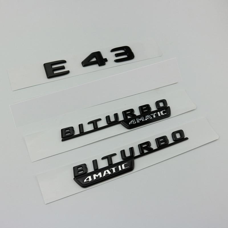 MERCEDES BENZ W212 W213 GLOSS BLACK SET AMG E63+V8BITURBO BADGES EMBLEMS STICKER