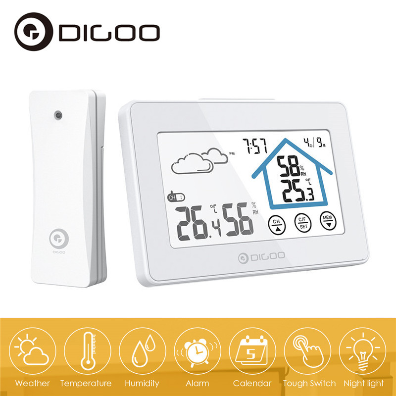 DIGOO DG-TH8380 Touch Screen Smart Home Weather Station Daily Clock Alarm Thermometer Hygrometer Temperature Humidity Sensor