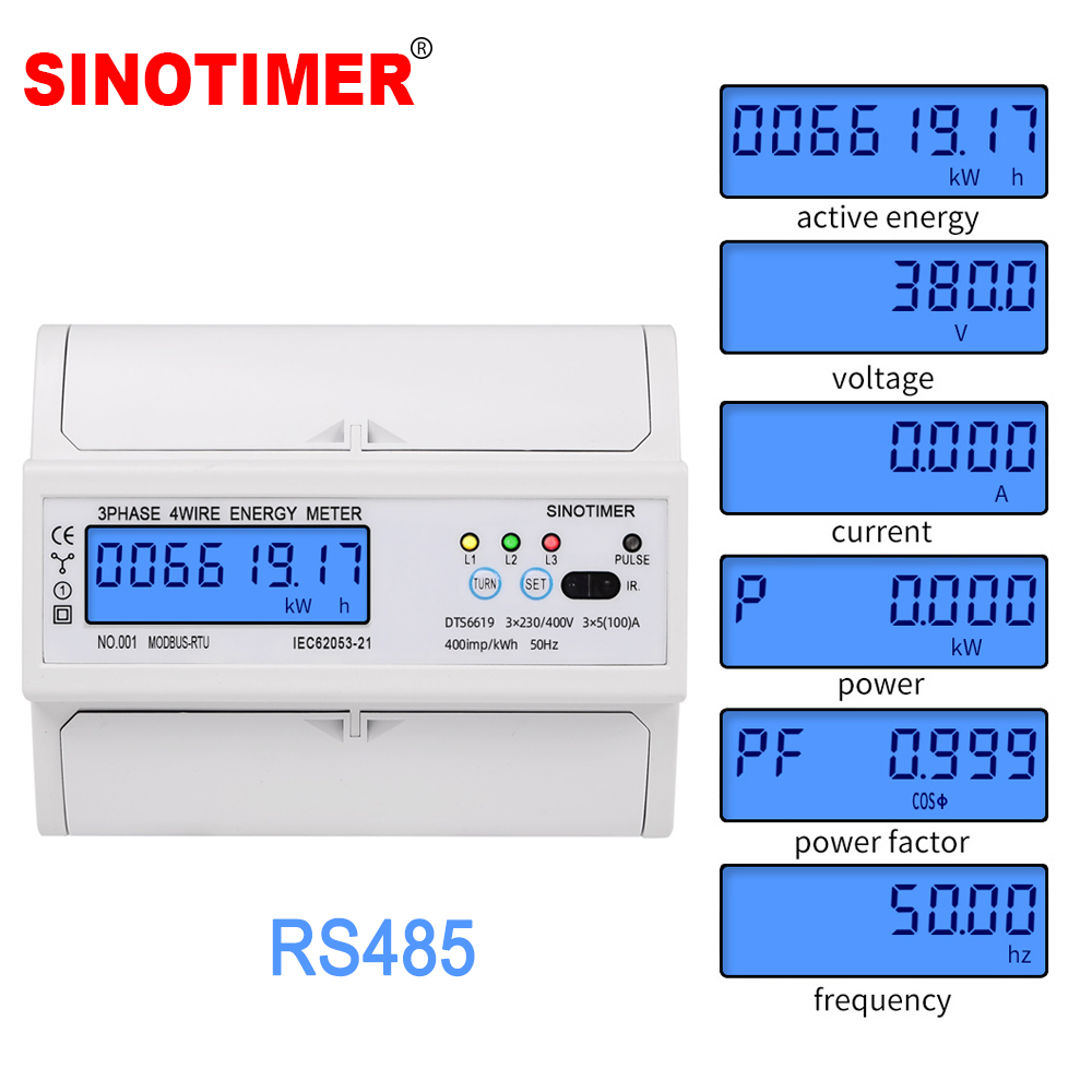3 Phase 4 Wire RS485 Modbus 380V 100A  DIN Rail Energy Meter Digital Backlight Power Factor Monitor with Voltage Current Display
