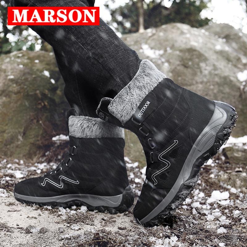 MARSON Men Boots Winter With Fur 2019 Warm Snow Boots Men Winter Boots Work Shoes Men Footwear Fashion Plus Ankle Shoes 39-46