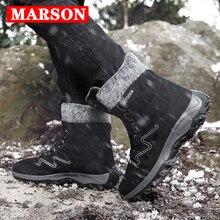 купить MARSON Men Boots Winter With Fur 2019 Warm Snow Boots Men Winter Boots Work Shoes Men Footwear Fashion Plus Ankle Shoes 39-46 по цене 1114.05 рублей