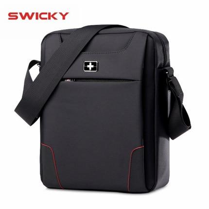 SWICKYผู้ชายแฟชั่นมัลติฟังก์ชั่ธุรกิจท่องเที่ยวกันน้ำ 10.1 นิ้วiPadข้ามแพคเกจกระเป๋าเดียว