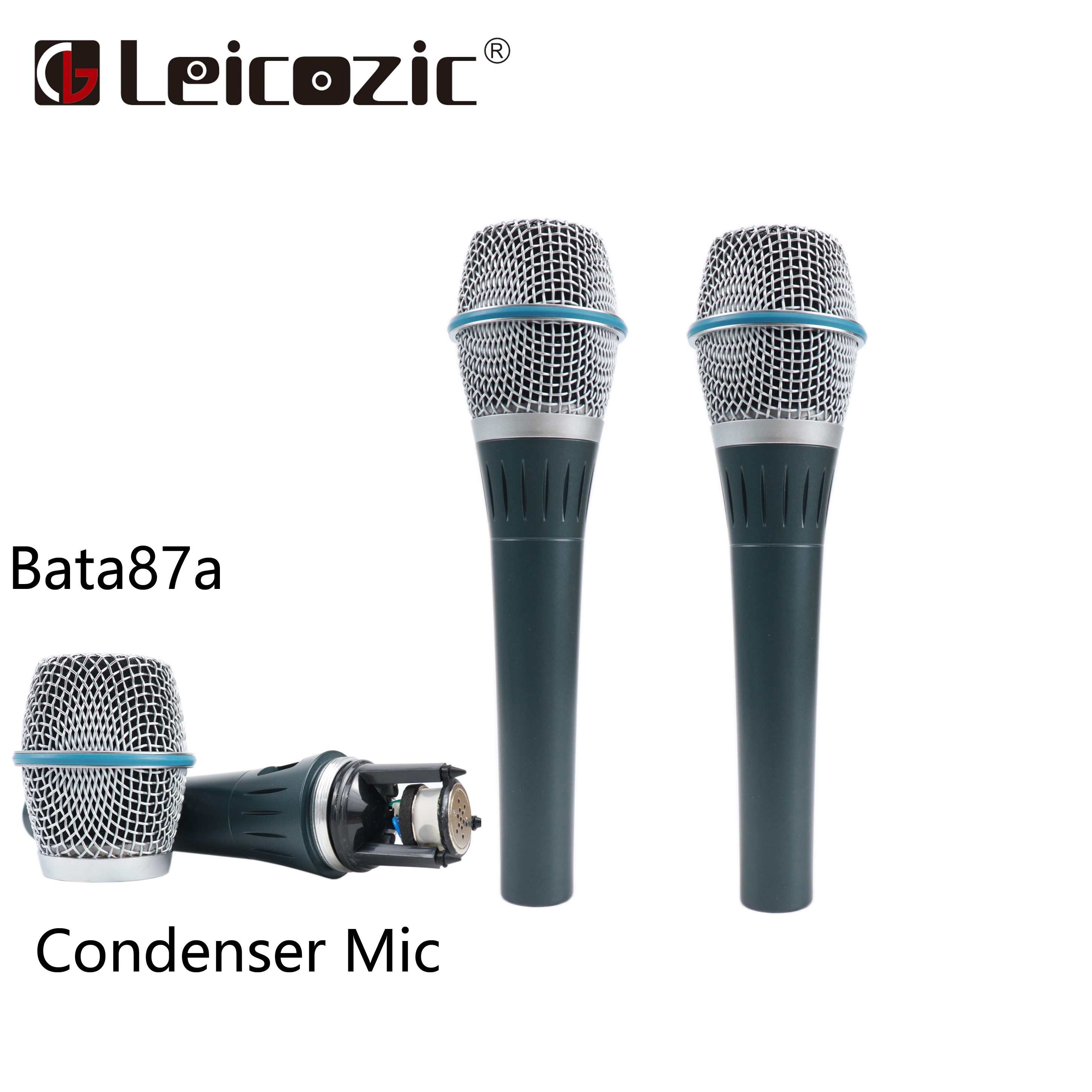 Leicozic 2Pcs BT87A 87A Supercardioid Condenser Handheld Microphone for Vocal Microphone Wired Condenser Microfone Free Shipping