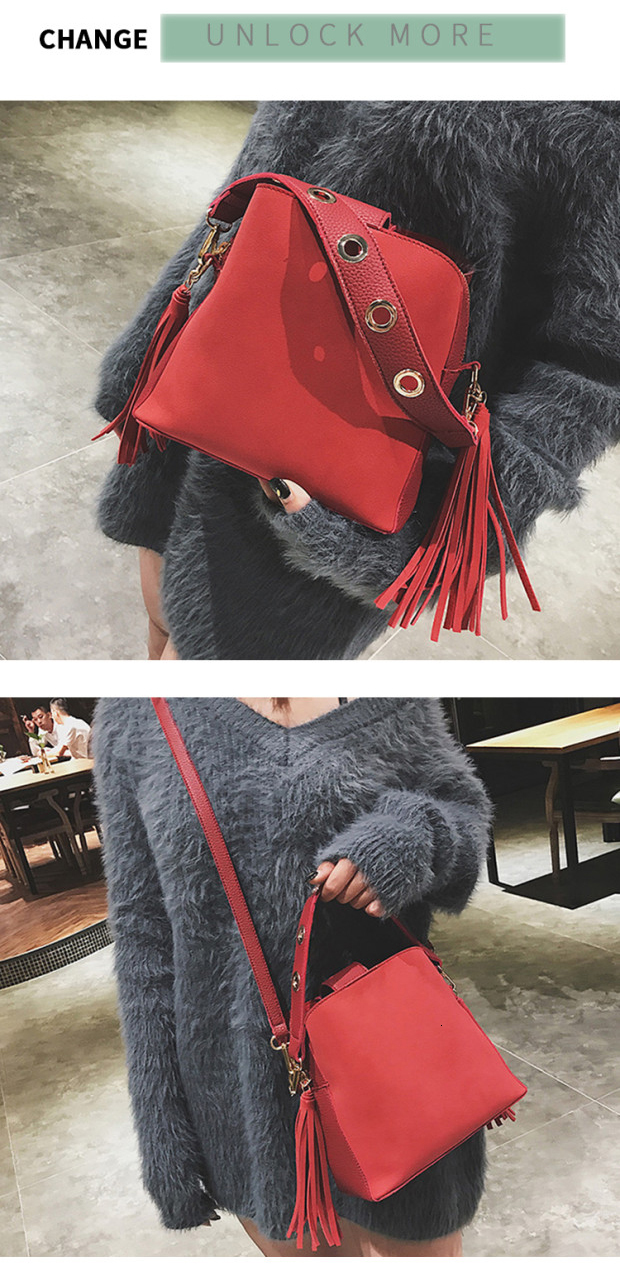 Fashion Scrub Women Bucket Bag Vintage Tassel Messenger Bag High Quality Retro Shoulder Bag Simple Crossbody Bag Tote 3