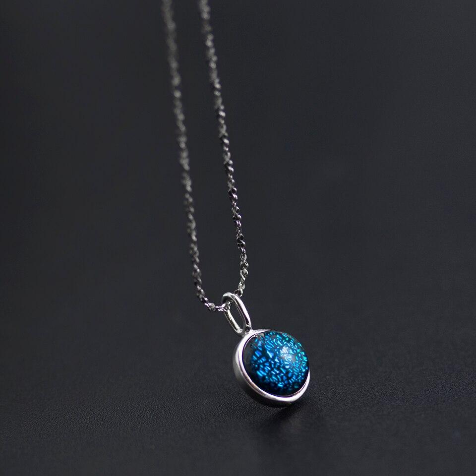 Cielo estrellado 925 Plata de Ley Halo cristal pequeño colgante collar gypofila joyería fina para mujeres niñas estilo coreano Aurora