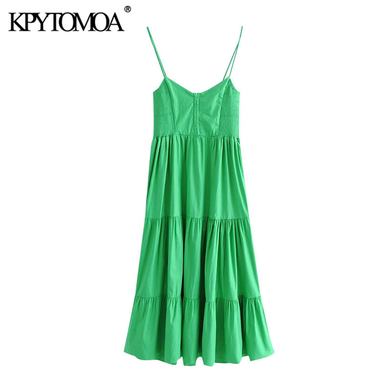 KPYTOMOA Women 2020 Chic Fashion With Metal Hooks Ruffled Midi Dress Vintage V Neck Thin Straps Female Dresses Vestidos Mujer