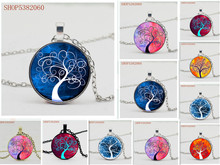 The symbol of the tree life and meaning concave glass silver pendant necklace in men women