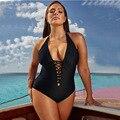 XMTOPYE einteiliges Badeanzug Frauen Plus Größe Solide Tiefem V-ausschnitt Lace Up Sexy Bodys 2021 Neue Strand Bade anzug Bademode
