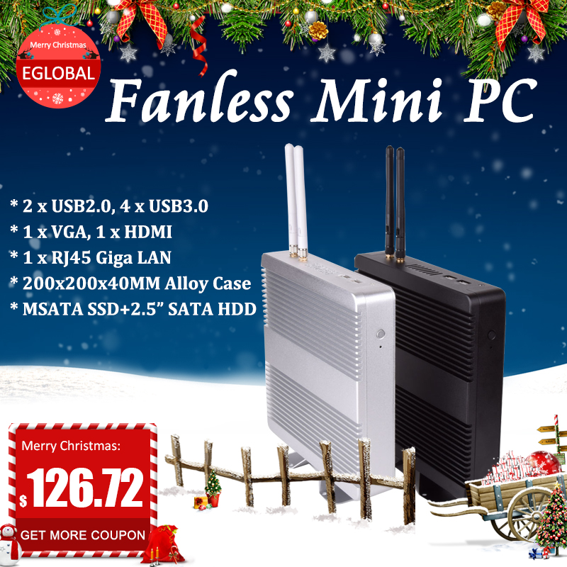 Cheap Fanless HTPC Intel Core I3/ I5/ I7/celeron Mini Pc  Desktop  Windows 10 Computer 12V VESA MOUNT