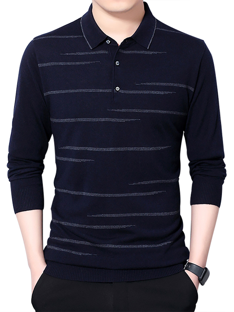 Brand Sweater Shirt Pullover Knitwear Soft-Wool Mens COODRONY Spring Turn-Down-Collar