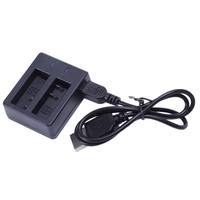 Cargador doble para Cámara de Acción SJ Cam SJ4000 WiFi SJ5000 SJ6000 SJ7000, color negro