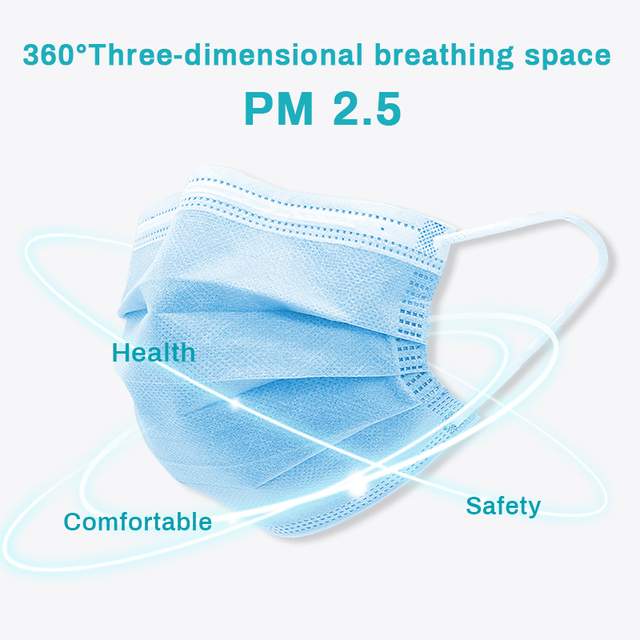 10/50/100pcs Face Mask Disposable 3 Ply Mouth Mask Filter Non-wove Breathable Anti pollution dust Mondmasker Protective Masks 2