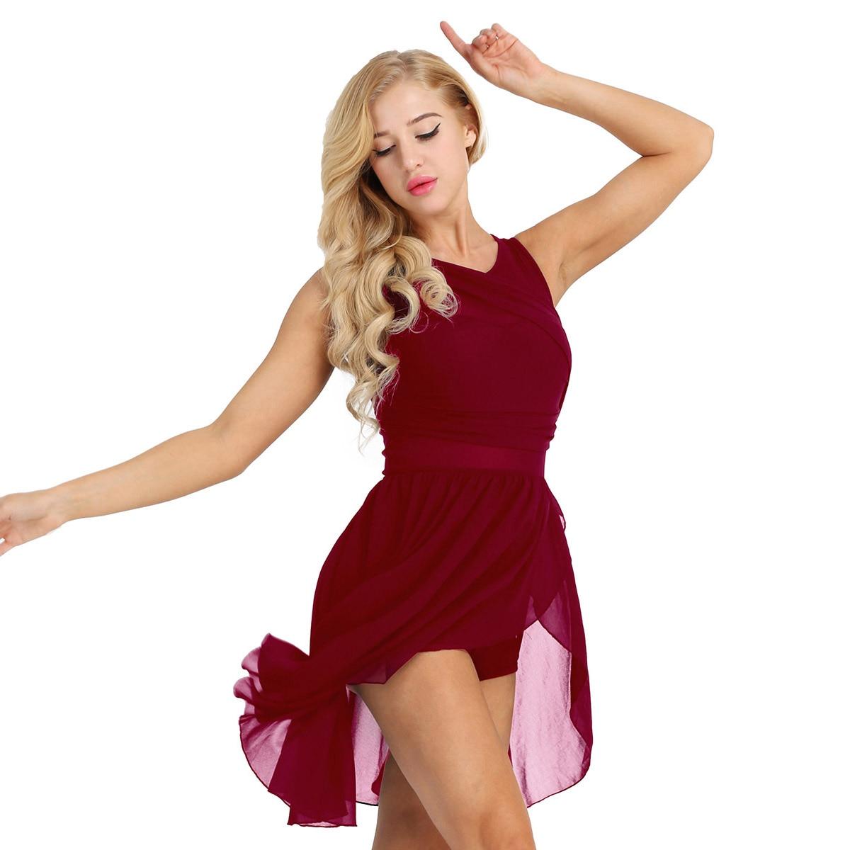 iiniim Womens Adult Off Shoulder Criss Cross Cutout Back Lyrical Ballet Dance Leotard Bodysuit Tutu Tulle Dress