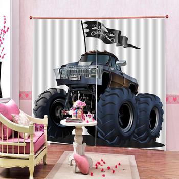 High quality custom 3d curtain fabric Cartoon car 3d Curtains Blackout for Living Room Kids Bedroom Fabric