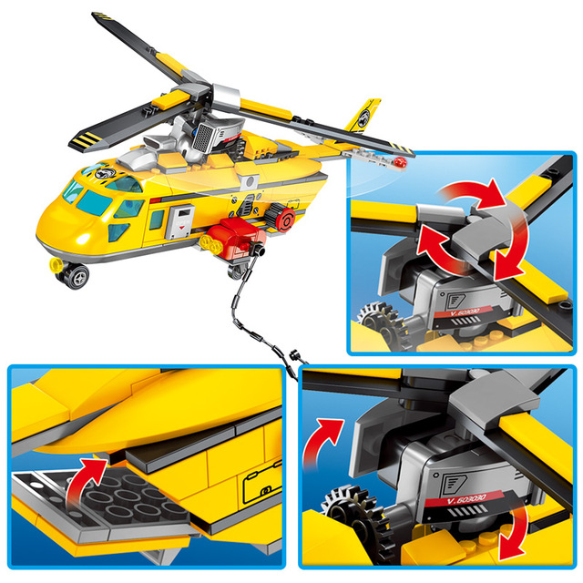 City Police Jungle Rescue Station Model Building Blocks for Military Helicopter Truck Car Figures Bricks Toys for Boys