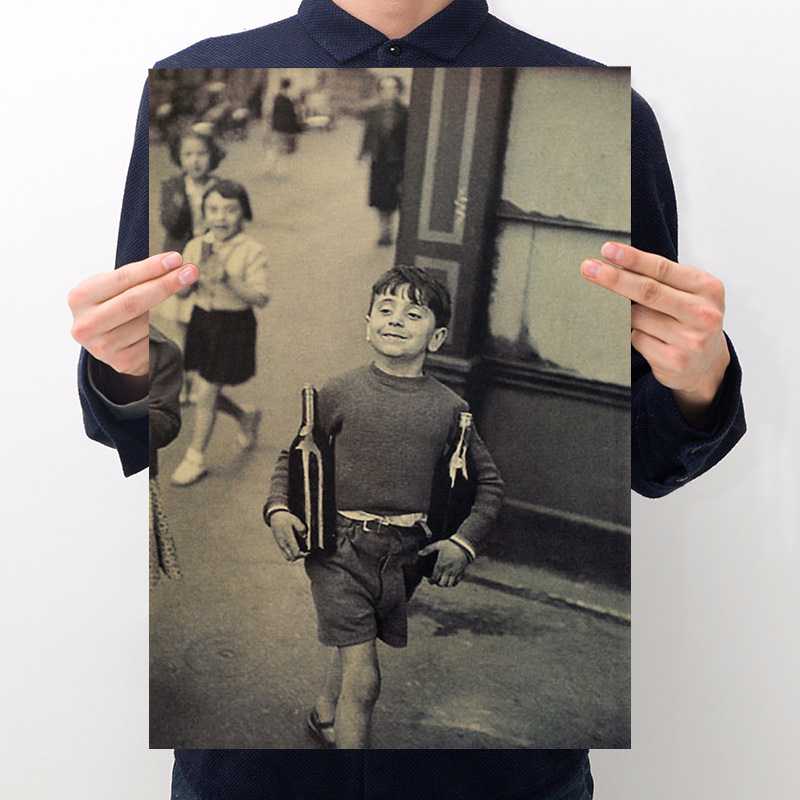Room decorating little boy kraft paper retro poster wall sticker cafe bar decoration painting