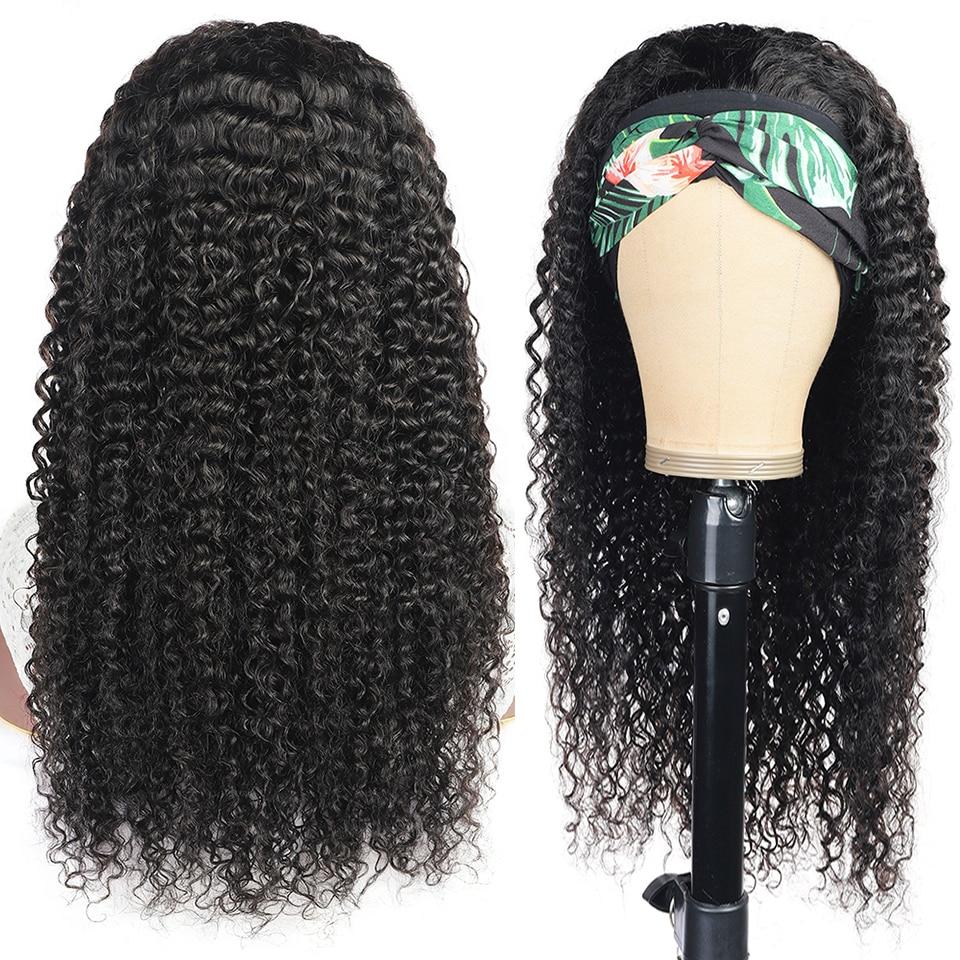 Curly Human Hair Headband Wig Brazilian Headband Human Hair Wigs For Black Women Remy Hair Machine Made Wig 150 Density Dorisy