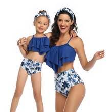 Летние Семейные одинаковые купальники для мамы и дочки с принтом