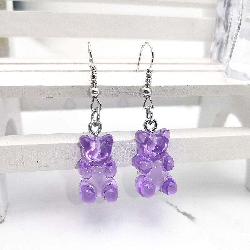 1 Pair of Cute Resin Gummy Bear Earrings Women's 33 Colors Candy Animal Girl Jewelry Gift Pendant