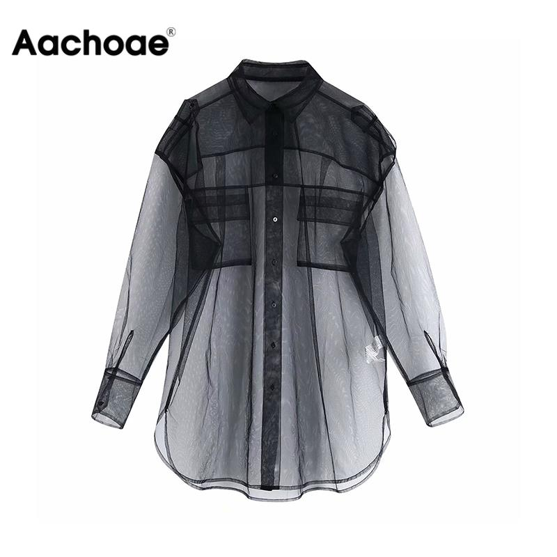 Women Transparent Mesh Blouse Pockets Sexy See-through Black Shirt Casual Loose Female Turn Down Neck Long Shirt Plus Size