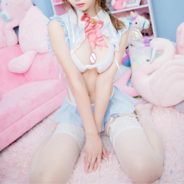 섹시한 선원의 달 코스프레 의상 학교 소녀 에로틱 란제리 유니폼 버니 소녀 여성 속옷 역할 놀이 메이드 복장