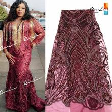 Burgundy Sequins Net Lace Fabrics Wine Color African Nigerian Women Wedding Dresses Sewing Material Classical Design Net Fabrics