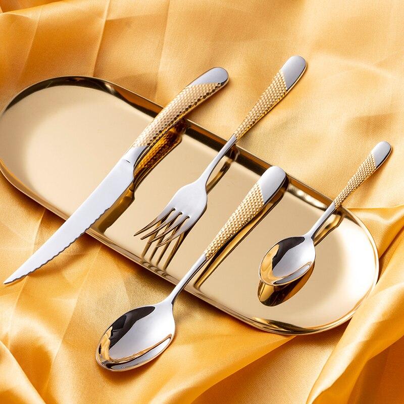 Набор позолоченных столовых приборов KuBac Hommi из нержавеющей стали, 24 шт., набор столовых приборов, нож, вилка, сервис для 4 прямых поставок
