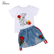 2pcs Fashion Toddler Baby Girls Summer Short Sleeve Tops T-shirt Denim Hole Roses Floral Dress Skirt Summer Outfits Clothes Set 2pcs fashion toddler baby girls summer short sleeve tops t shirt denim hole roses floral dress skirt summer outfits clothes set