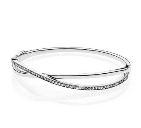 New Original 925 Sterling Silver Quality Galaxy Entwined With Cubic Zirconia Bangle Bracelet Fit Bead Charm Diy Fashion Jewelry