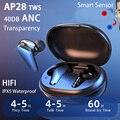 Беспроводные наушники 40DB ANC TWS с активным шумоподавлением, прозрачный смарт-датчик Airoha 1562X Bluetooth, наушники 10D С супер басами