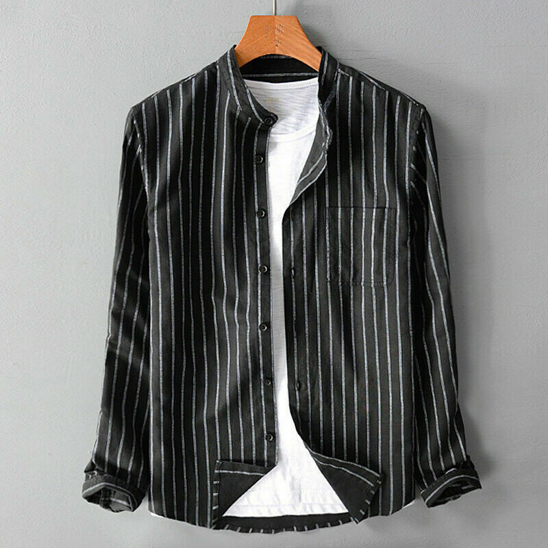 M-5XL Plus Size Shirt Men Casual Black White Green Striped Lapel Shirts Long Sleeve Men Blouse Spring Autumn Big Size Blouses