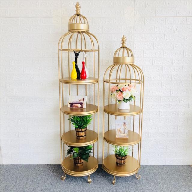 European Style Flower Rack Cage Shelf To Ground Iron Art Shelf Exhibition Frame Display Frame Golden Originality Shelves