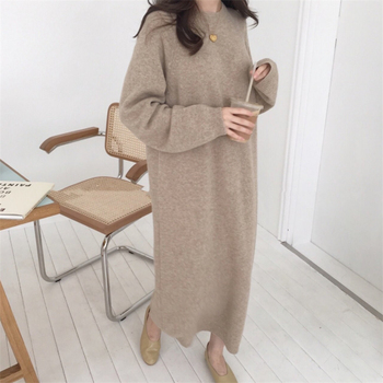 Warm Sweater Women Autumn Dress Winter Long Knitted Dresses loose Maxi Oversize Lady Bodycon Robe Vestidos