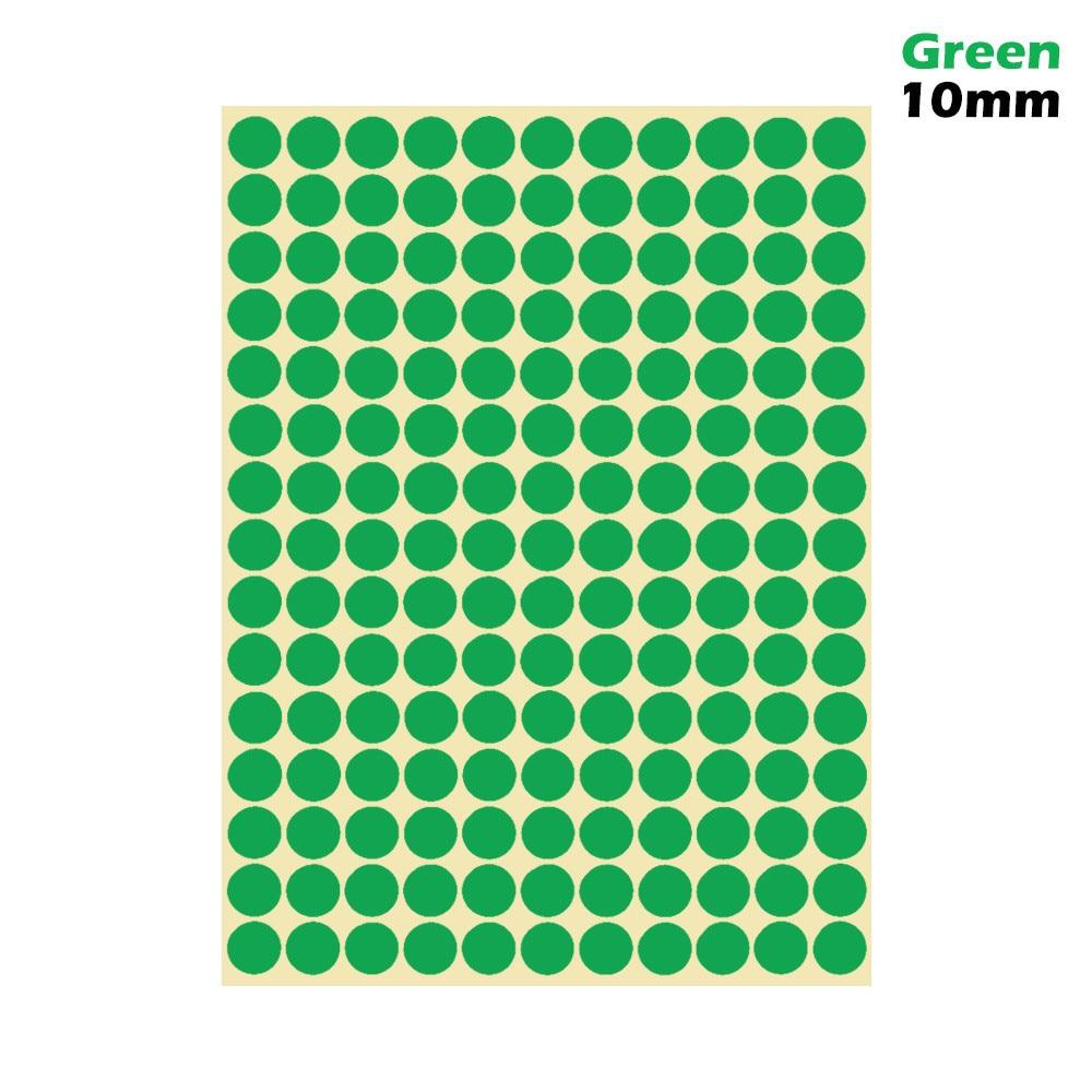 1 лист 10 мм/19 мм цветные наклейки в горошек круглые круги точки бумажные клеящиеся этикетки офисные школьные принадлежности - Цвет: green 10mm