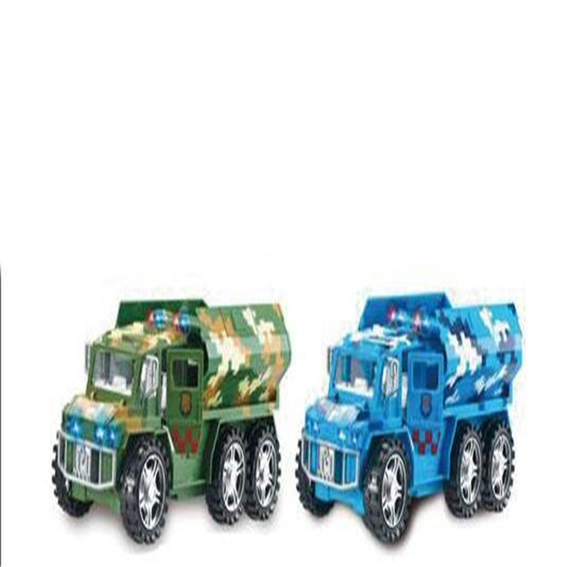 New Style CHILDREN'S Toy Electric Universal Music Toy Car Door Opening Flip Missile Military Model Car