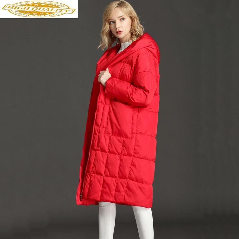 Women's Down Jacket Oversize Winter White Duck Down Coat Hooded Warm Puffy Jacket Korean Long Parka 2020 LJY-166 KJ3023