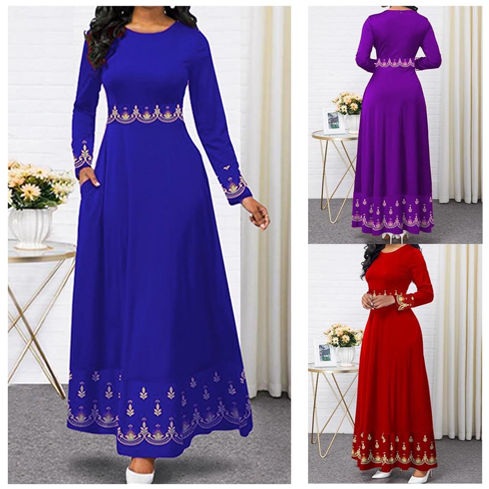 2020 Indonesia Gown Hijab Bangladesh Plus Size Dress 5XL Dubai Blue Abaya For Women Pakistan Muslim Long Dress Islamic Clothing