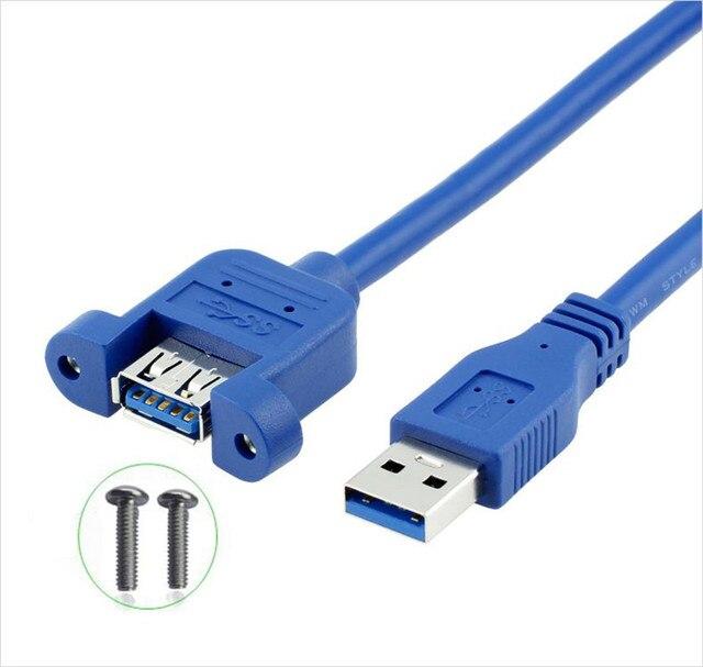 USB kablosu 3.0 uzatma erkek kadın genişletici kablo kordonu çift korumalı vida paneli dağı 0.3M 0.6M 1M 1.5M 3M