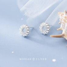 Modian Сияющий Циркон милые круг стерлингового серебра 925 серьги