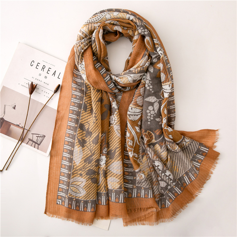 Elegant Scarf Korean Style Female Spring Autumn Camel-color Paisley Pattern Cotton Long Shawl