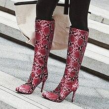 AIWEIYi Fur Warm Winter Shoes Woman Boots Knee High Thigh Print Sexy Heels Long Stiletto