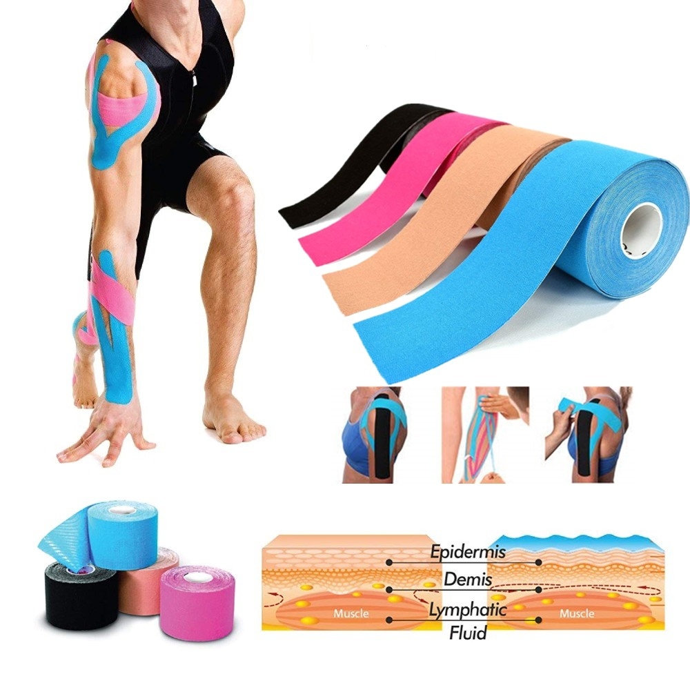 5CM Cotton Kinesiology Sport Tape Waterproof Elastic Roll Tape Adhesive Muscle Bandage Pain Relief Elbow Knee Waist Back Protect