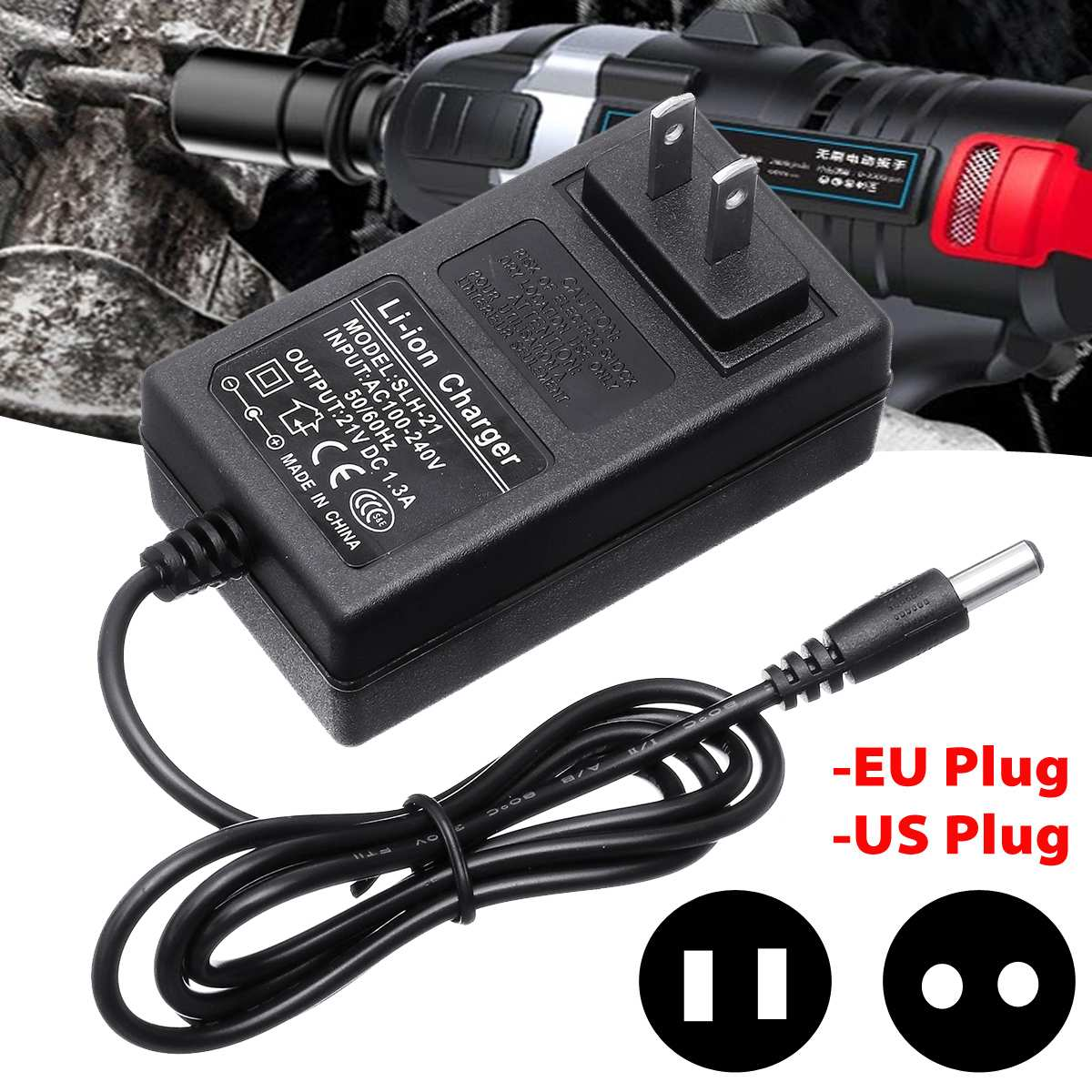21V DC5521 Electric Wrench Charger Lithium Battery Wrench Charger  Desktop High Fast Charge