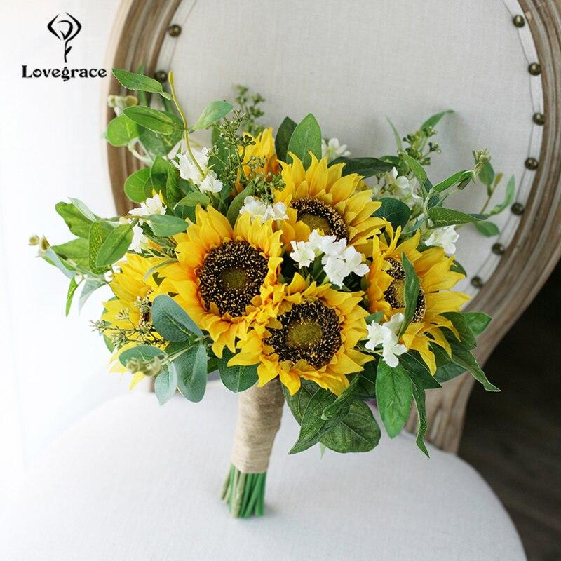 Lovegrace букет подсолнуха свадебный цветок для невесты искусственный Шелковый Подсолнух букет эвкалипта лист уникальный дизайн Свадебные Пос