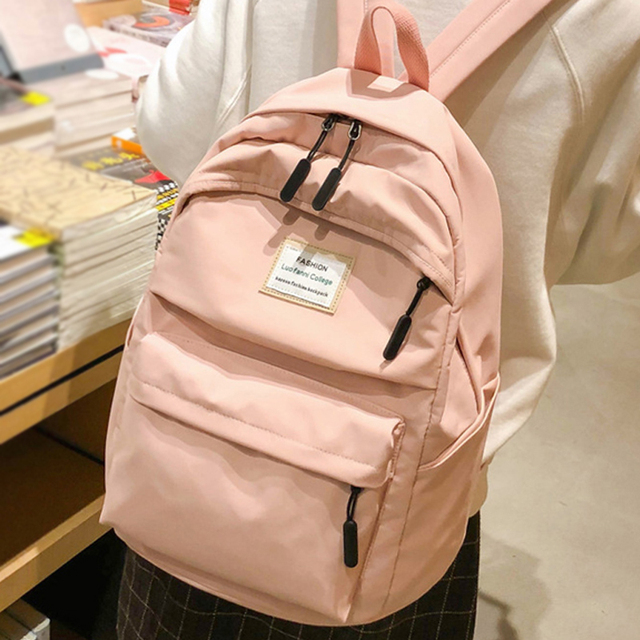 JOYPESSIE Fashion Waterproof Backpack Black School Bag Women Men Simple For Teenager Girl Nylon Travel Mochilas Rucksack