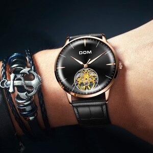 Image 2 - DOM גברים שעונים למעלה מותג יוקרה שלד שעון גברים ספורט עור Tourbillon אוטומטי מכאני שעוני יד אופנה M 1268GL 1M