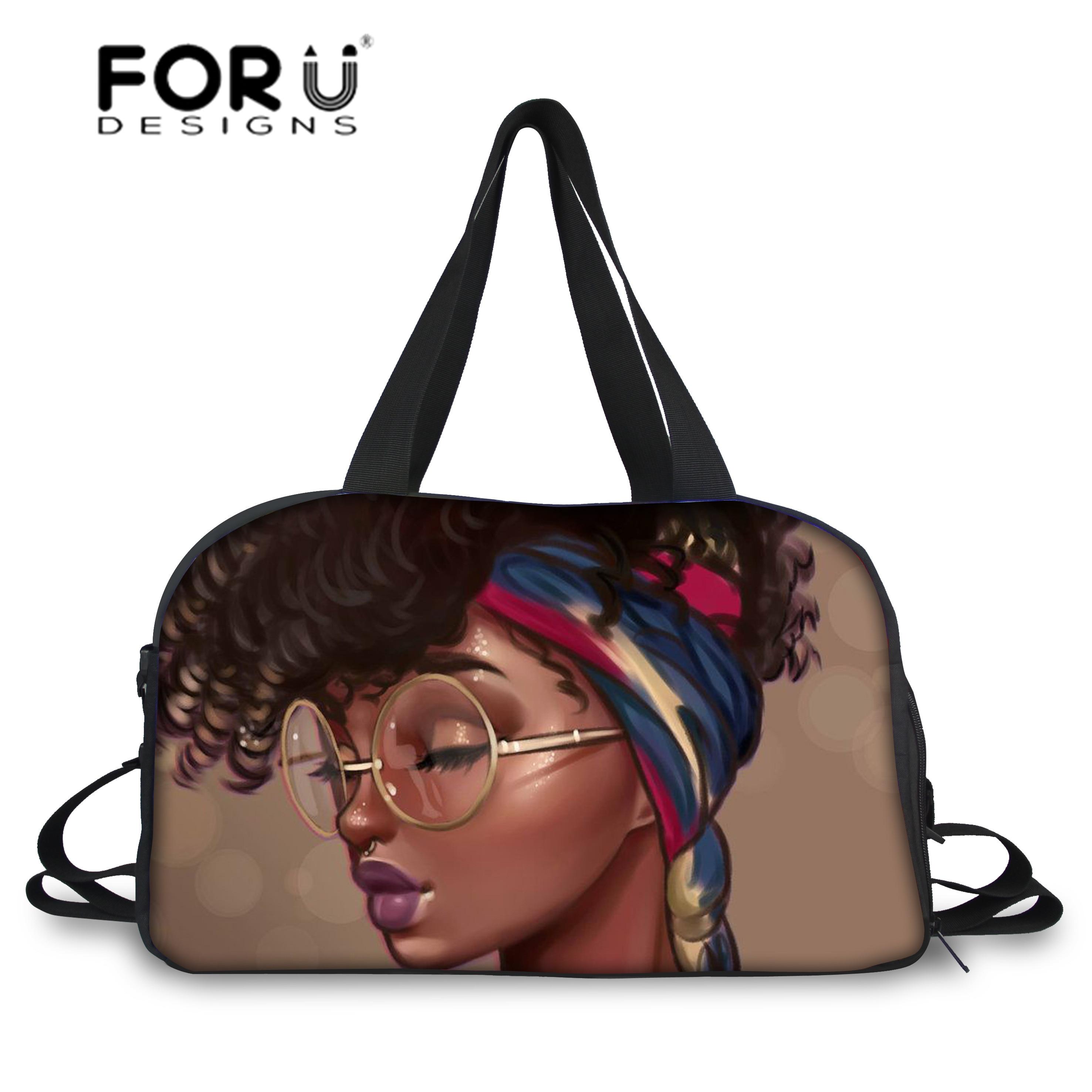 FORUDESIGNS Portable Travel Bags For Women Black Art African Girls Printing Trip Bag Ladies Gym Bag Totes Females Duffel Bags